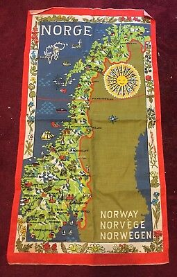 Anki Norway Norge Norwegian Map Scroll Wall Hanging Linen Kitchen Decor