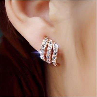 925Silver/Rose Gold Angel Wings White Sapphire-Studded Stud Earrings New