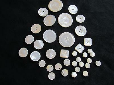 "Assorted Lot of Vintage Shell Mother of Pearl MOP Buttons 7/16"" to 1.5"" Sets"