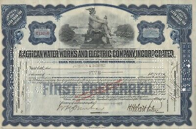 """""""rare"""" - American Water Works And Electric Company, Inc. - Stock Certificate"""