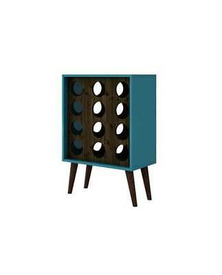 Mid Century Modern Wine Rack in Aqua and Brown [ID 3771676]
