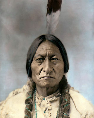 "CHIEF SITTING BULL NATIVE AMERICAN INDIAN SIOUX 8x10"" HAND COLOR TINTED PHOTO"