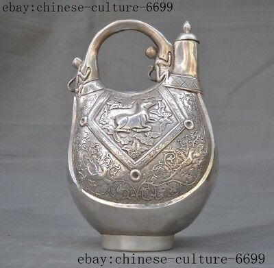 """10""""Marked old Chinese silver monkey horse statue Horse Milk Wine Tea Pot Flagon"""