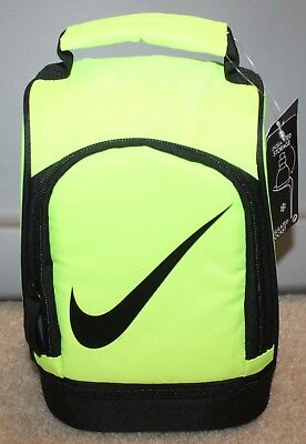 New! Boys/Girls Sporty Nike Lunch Dome Box/Bag - Insulated/Zippered - Volt/Black