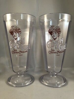 Gibson Girl Ice Cream Parlor Pair Of Souvenir Float Cups From Disney - RARE!