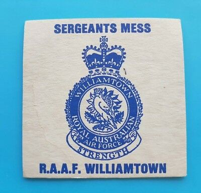 RAAF Williamtown Sergeants Mess DRINK / BEER COASTER  Exceptional Condition
