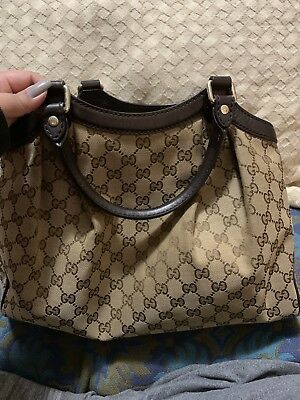 d3bdaa812f5fe1 Authentic Gucci Sukey Medium Brown With Gold And Canvas Tote 100% Auth  Handbag