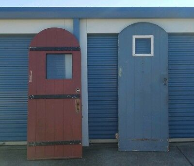 Vintage Round Top Arched Exterior Thick Solid Wood Doors All Original Salvage