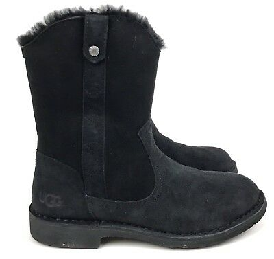 e0b28ebcb48 UGG CLASSIC DAELYNN Black Women's Twinface Sheepskin and Suede with ...