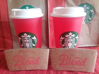STARBUCKS Set Of 2 New 2018 Limited Edition Holiday Christmas Red Reusable Cups