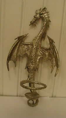 "1988 Perth Pewter Dragon Figurine Wall Decoration/Candle Holder 7.5"" tall"