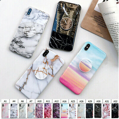Marble Phone Back Case Cover For iPhone XS Max XR 8 7 6s Plus Case Put Up Holder
