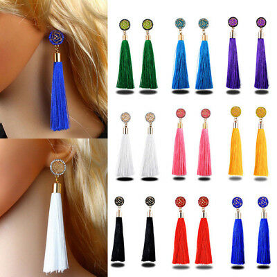 Vintage Boho Long Tassel Earrings Long Dangle Thread Tassle Earring Women Gift