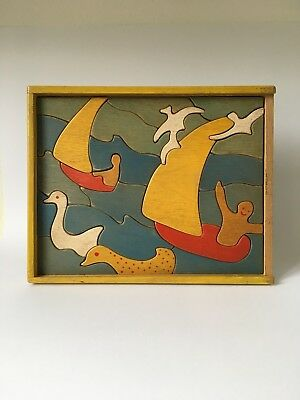 Antonio Vitali wooden toy puzzle / jigsaw Boats / rare - Vintage Swiss Design
