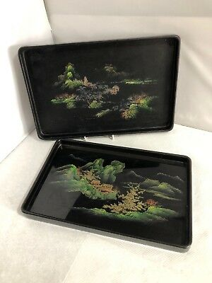 Vintage Pair of Chinese Wooden Hand Painted Lacquer Tray Plate