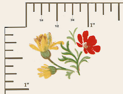 """8 x Waterslide ceramic decal Decoupage Red / Yellow flowers 1 1/8"""" x 7/8""""  PD632"""