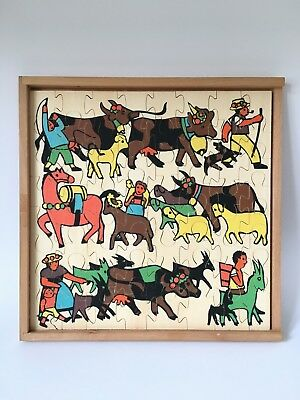 Antonio Vitali wooden toy puzzle / jigsaw Cattle Drive - Vintage Swiss Design