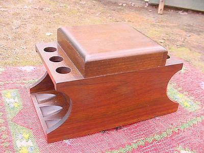 Vintage Pattberg Walnut Tobacco Humidor with 6 Pipe Rack / Stand /HOLDER