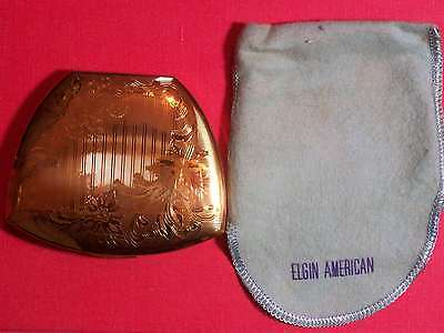 "1935 circa ELGIN AMERICAN COMPACT CASE.  GOLD APPEARANCE. 3"" x 3 ½""  MADE IN USA"