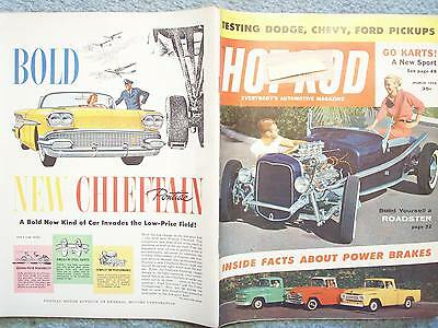 1958 March Hot Rod Magazine Vol 11 No 3  Dodge Chevy Ford Pickups Go Karts