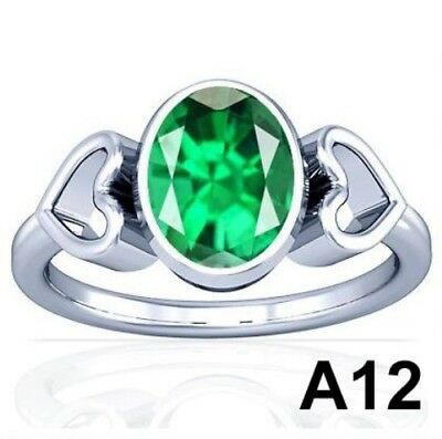 5-11 CT Natural Columbian Emerald Vedic Sterling Silver Ring Good Quality A12PL