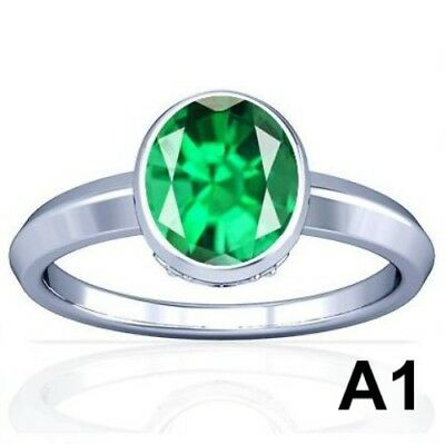 5-11CT Natural Columbian Emerald Vedic Sterling Silver Ring BEST Quality A1 PL