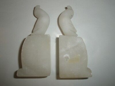 Set of 2 Vintage Carved White Stone Parrot Bookends