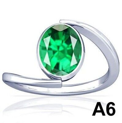5-11CT Natural Columbian Emerald Vedic Sterling Silver Ring Excellent Quality A6
