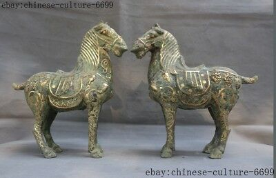 """15""""old Chinese bronze ware carving dynasty Funerary Worship horse statue pair"""