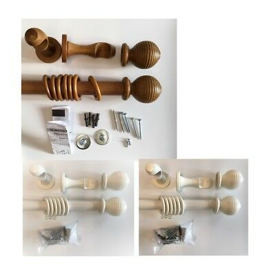 CLEARANCE 28mm Wood Curtain Pole, Wooden Ribbed Ball Finial, Complete pole set