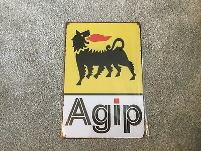 Vintage Retro Style Metal Tin Signs Poster Agip Logo Motorbike Cave Wall Home