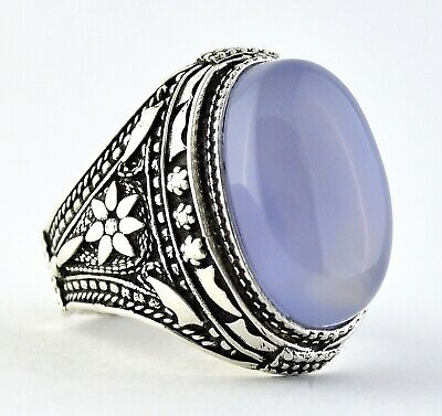 New Yemeni Blue Aqeeq Aqiq Agate Stone, Set on Handmade Yemen Silver Men's Ring