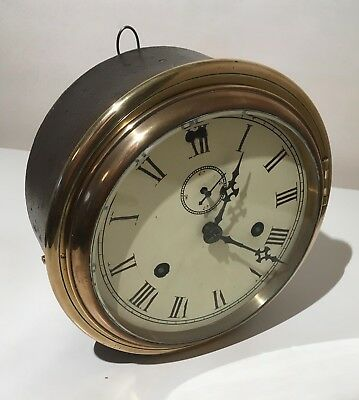 Antique Brass Cased Ships Clock Maritime Industrial Home Retail Bar 19th Century