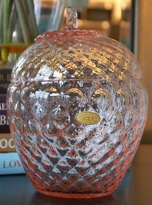 Genuine Art Murano IceT Hand Blown Glass Lidded Pink Apple Centrepiece Bowl