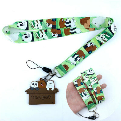 Anime We Bare Bears Lanyard Neck Strap Charms Cell Phone Rope KeyChain Keyring