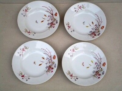 Porcelaine De Paris Vers 1860-1880 Service 6 Assiettes Creuses  Decor Peint Main