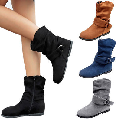 bddea7a6e110 Women s Mid Calf Extra Wide Ankle Boots Zip Casual Slouch Flat Boots Shoes  Sizes