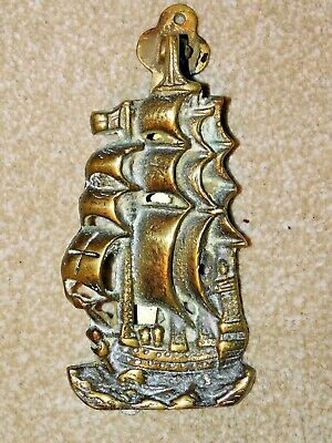 Large Vintage Brass Galleon Ship Door Knocker