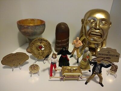 Rare INDIANA JONES Replicas Lot - Holy Grail, Idol, Sankara Stone, Figures, Pins