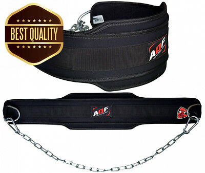 AQF Dipping Belt Body Building Weight Lifting Chain Neoprene Gym Back...