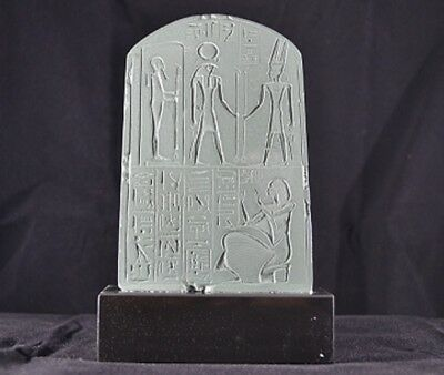 "Authenitc Louvre-museum-stamped Egyptian votive stella sculpture-6""x 4"""