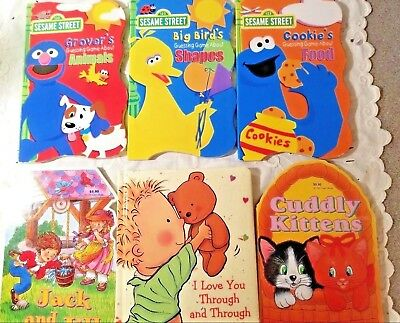 Lot 6 PreK Toddler Board Books Sesame St, I Love You Through, Kittens, LIKE NEW!