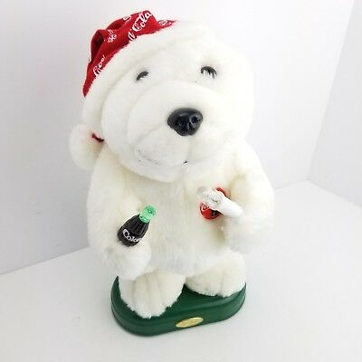 Vintage 98 Coca Cola Sing Move Light Up Polar Bear Battery Operated Toy Stuffed