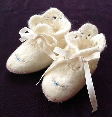 adorable vintage felted baby shoes w hand crocheted top, ribbon ties, embroidery