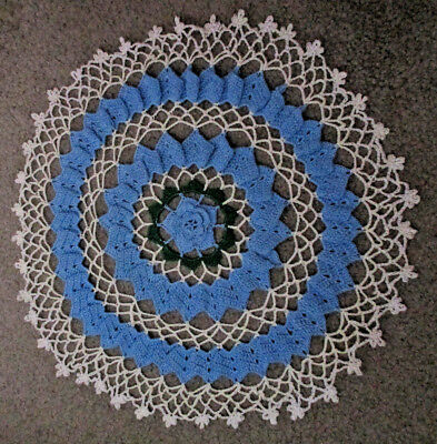 Vintage 15 Inch Blue, White, and Green Crocheted Round Doily