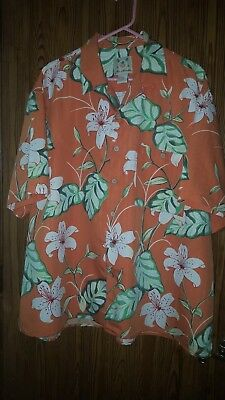 Vintage 90's Joe Marlin Hawaiian 6 Button Shirt ~ 2Xl ~ Orange Flower Design
