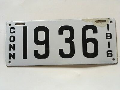 1916 Connecticut Commercial Truck License Plate Opposite Colors Porcelain GLOSSY