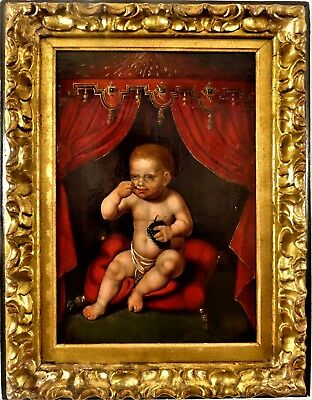 Early follower of Joos van Cleve (1485-1541): The infant Christ eating grapes