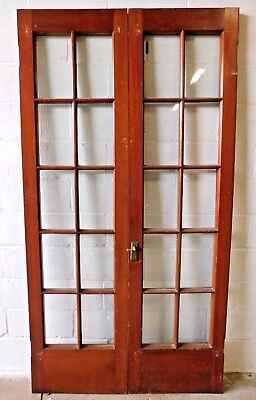 1890s Wooden FRENCH DOORS Victorian Style Ten Lite CYPRESS Original Glass ORNATE