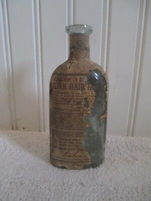 c1870s Hall's Sicilian Hair Renewer restorer bottle labeled medicine